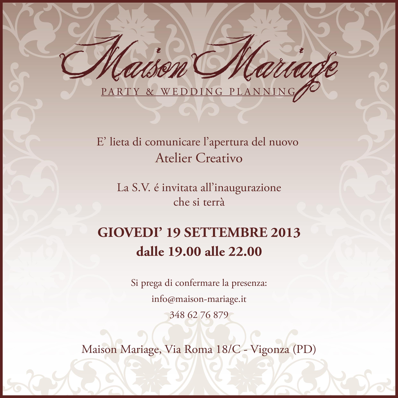 Inaugurazione del nuovo atelier creativo di maison mariage for Ufficio wedding planner