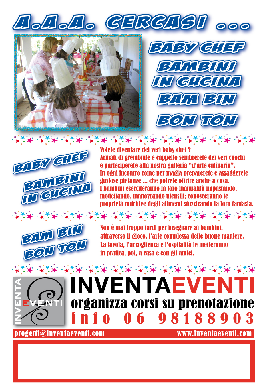 A a a cercasi baby chef for Cercasi ufficio roma