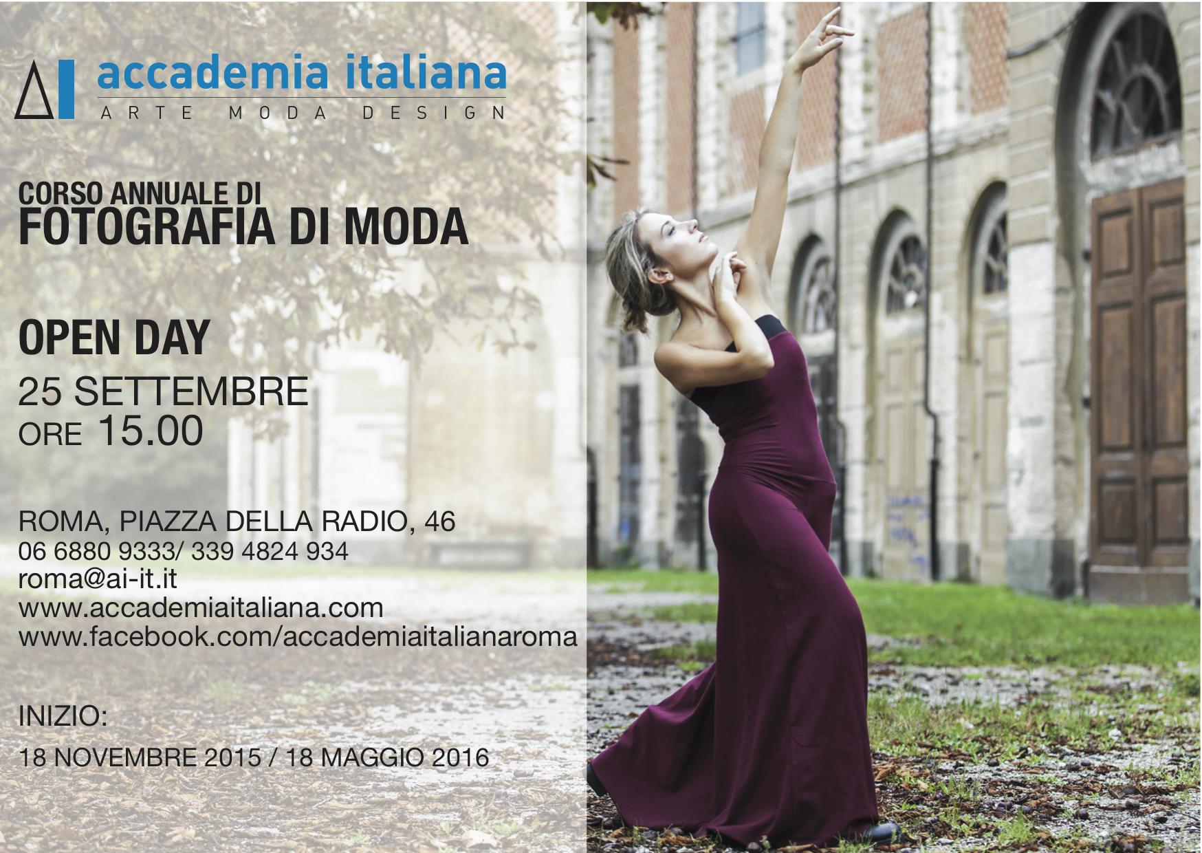 Open day corso annuale fotografia di moda 25 settembre for Accademia della moda milano